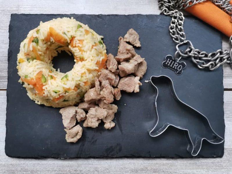 sformatino di riso basmati con agnello per cani